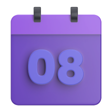 "Simplified purple calendar with ""08"" showing"