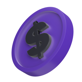 Tilted, stylized purple coin with a dollar sign on it