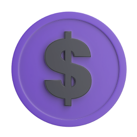 Stylized purple coin with a dollar sign on it