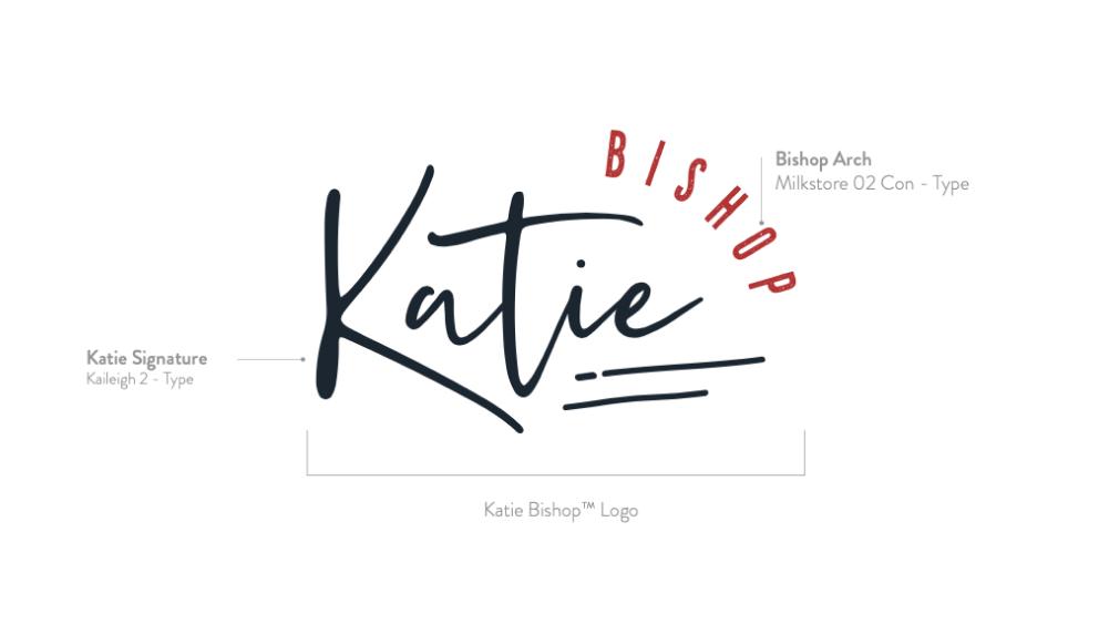 """Katie"" logo in decorative script font"