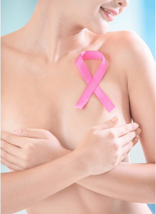 Beautiful Cancer Survival Woman With a Pink Ribbon