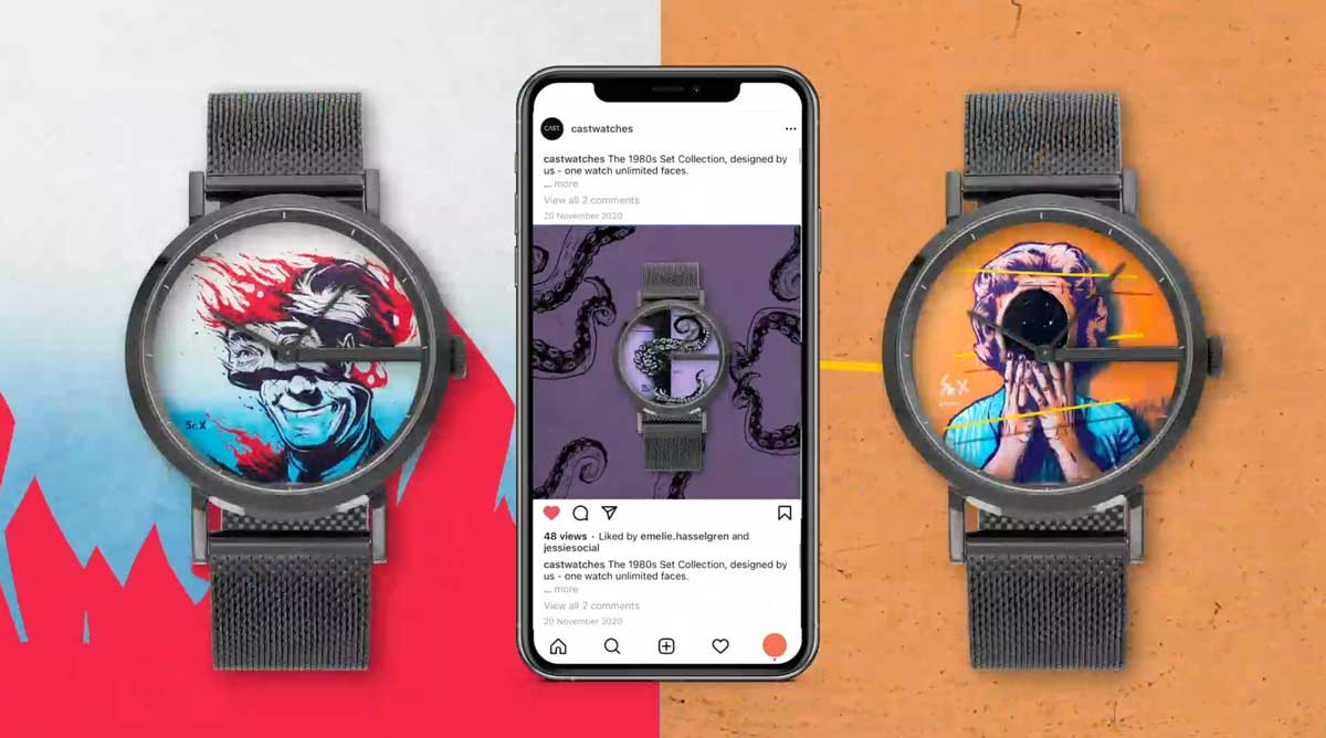 A CAST watch against a cool background graphic by Social Mode