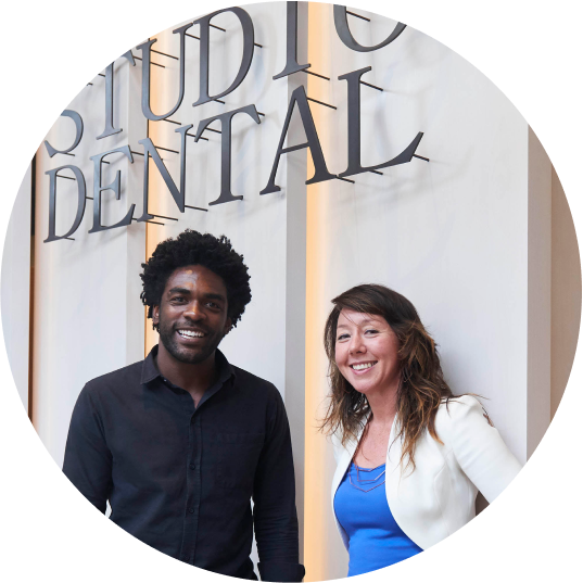 Dr. Shannon Arvizu with Lowell Caulder, CEO of Studio Dental