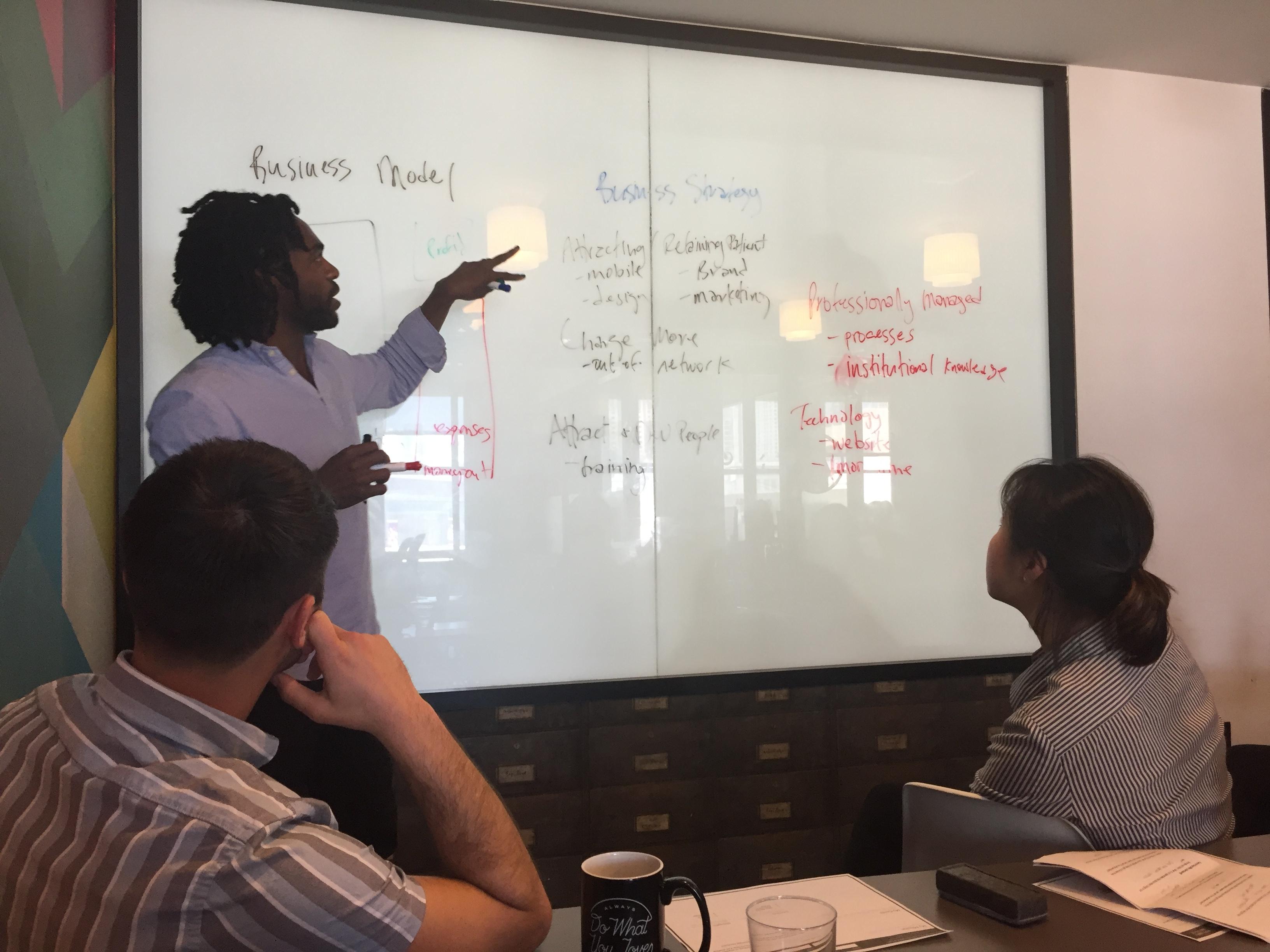 Team delegating on whiteboard