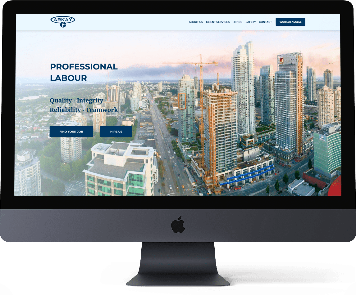 Our web design and development for Arkay Contracting