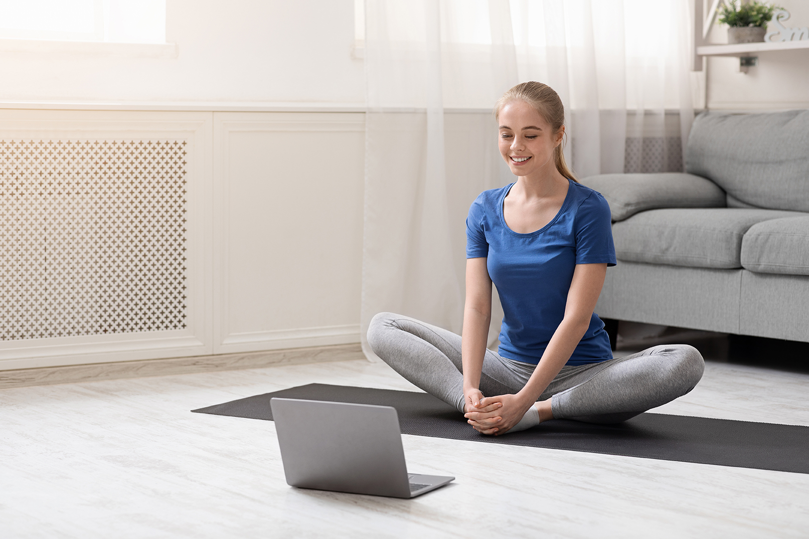 Woman Using Telehealth Services to Improve Physical Health
