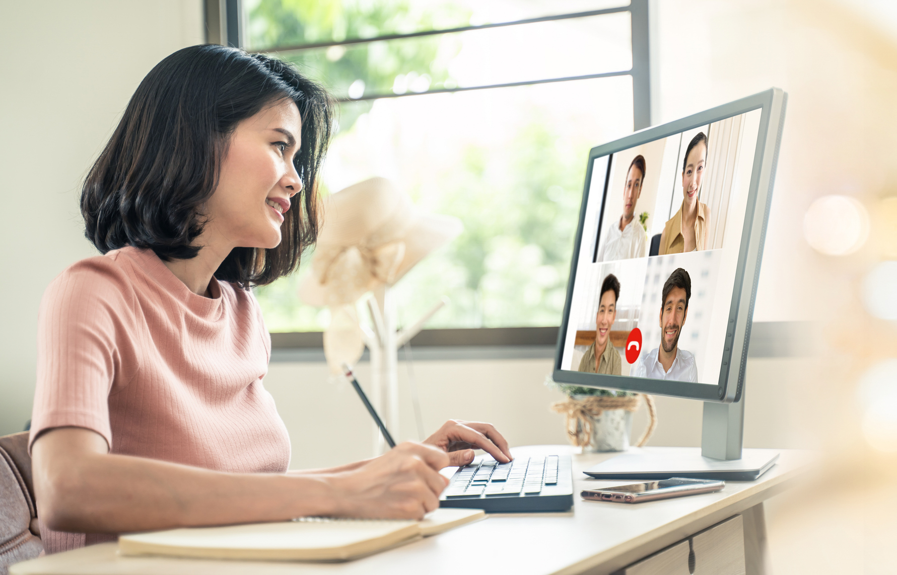 Woman Taking a Virtual Class