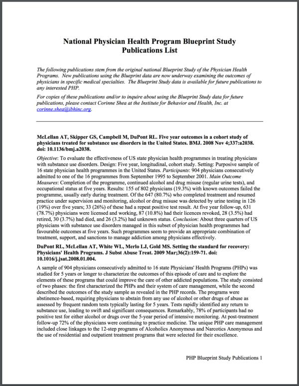 National Physician Health Program Blueprint Study Publications List