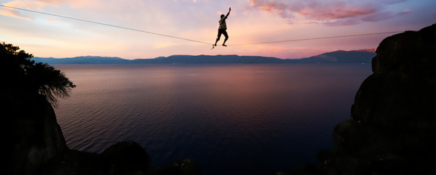 balancing on a rope