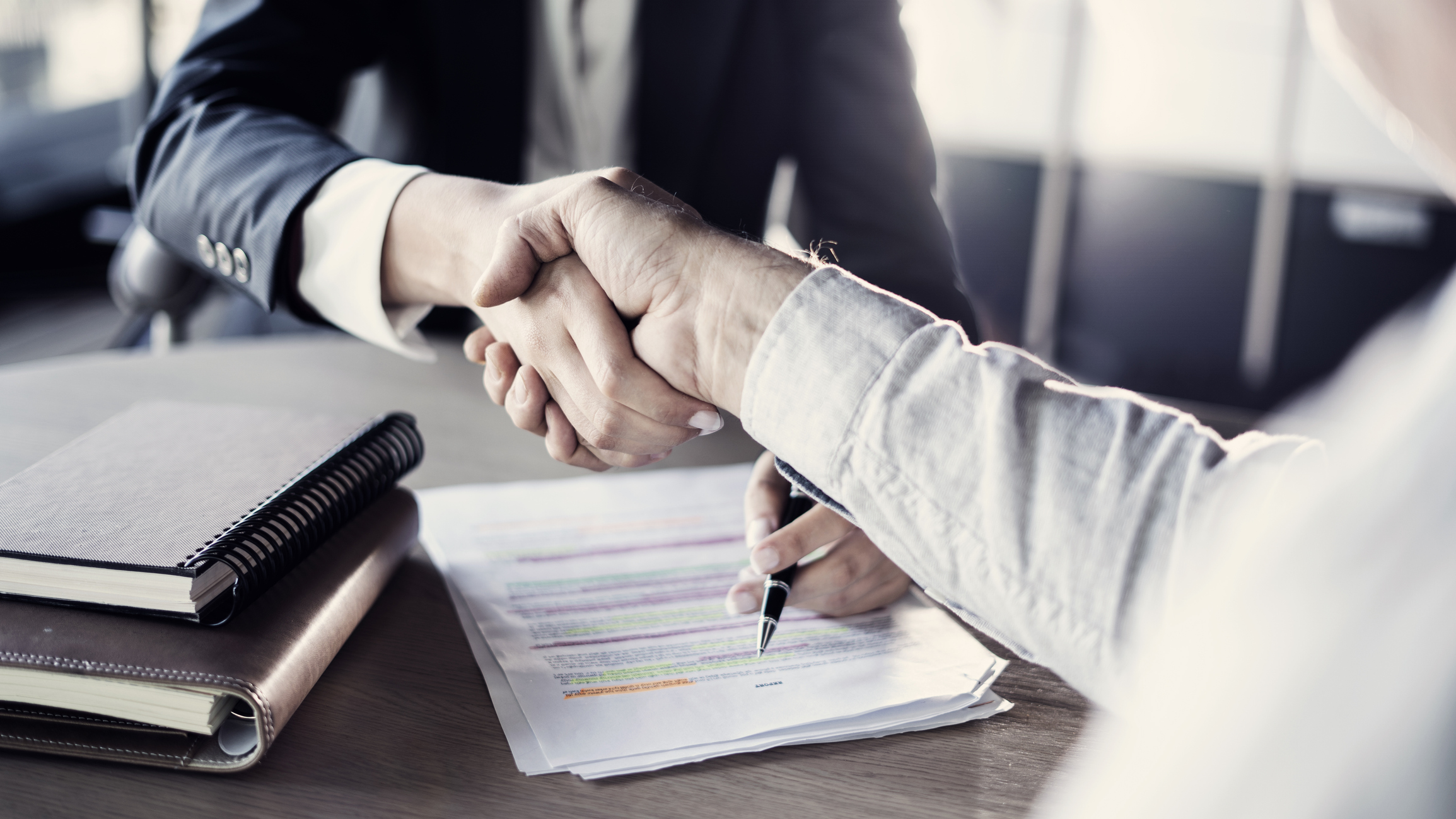 Lae professional shaking hands with client