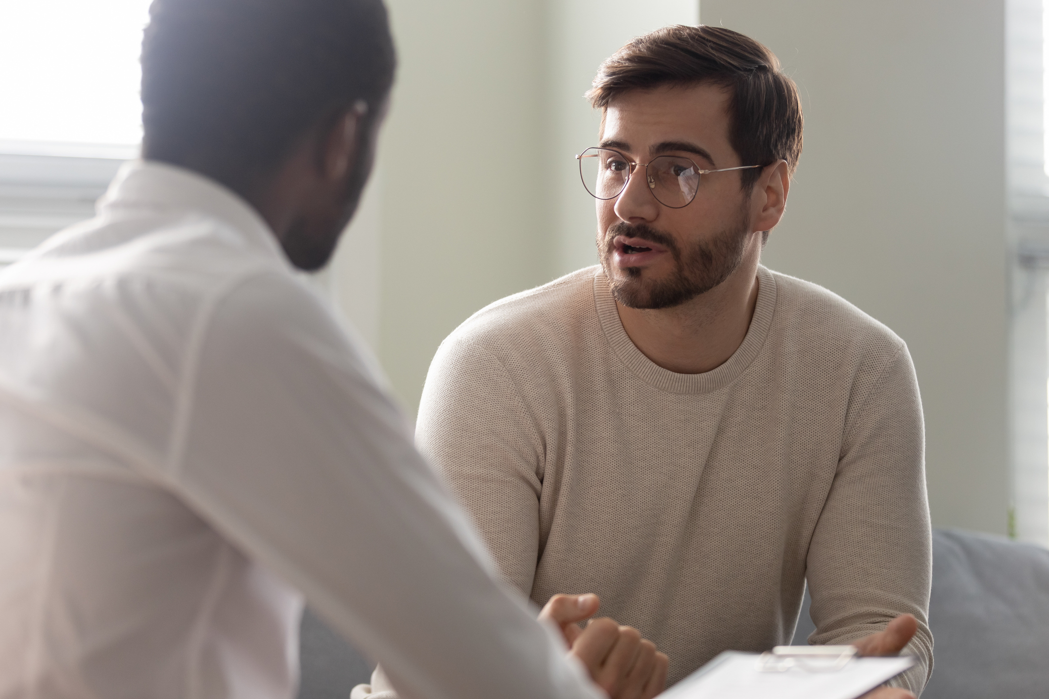 Man speaking with Recovery Coach
