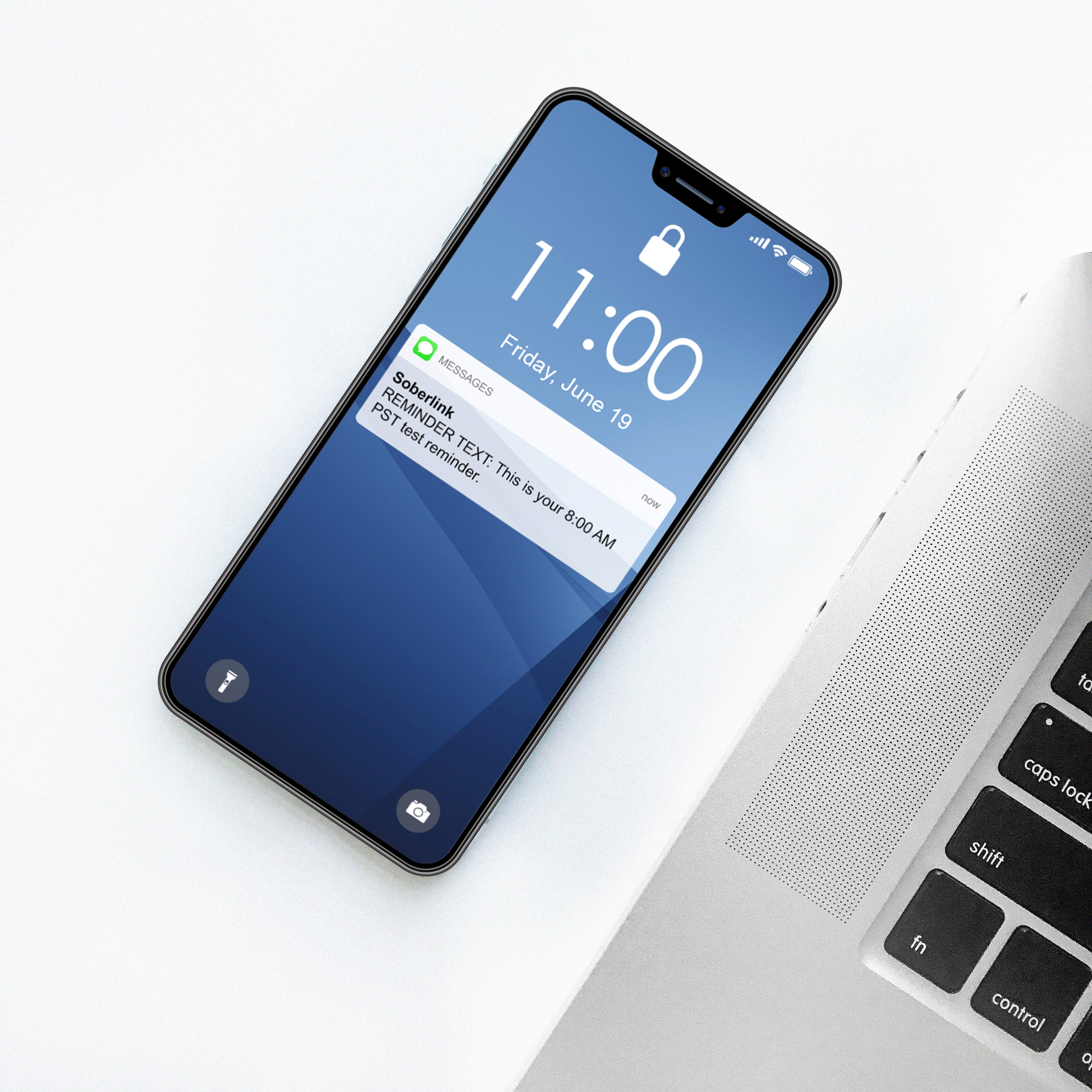 Soberlink Reminder to Test text appears on iPhone