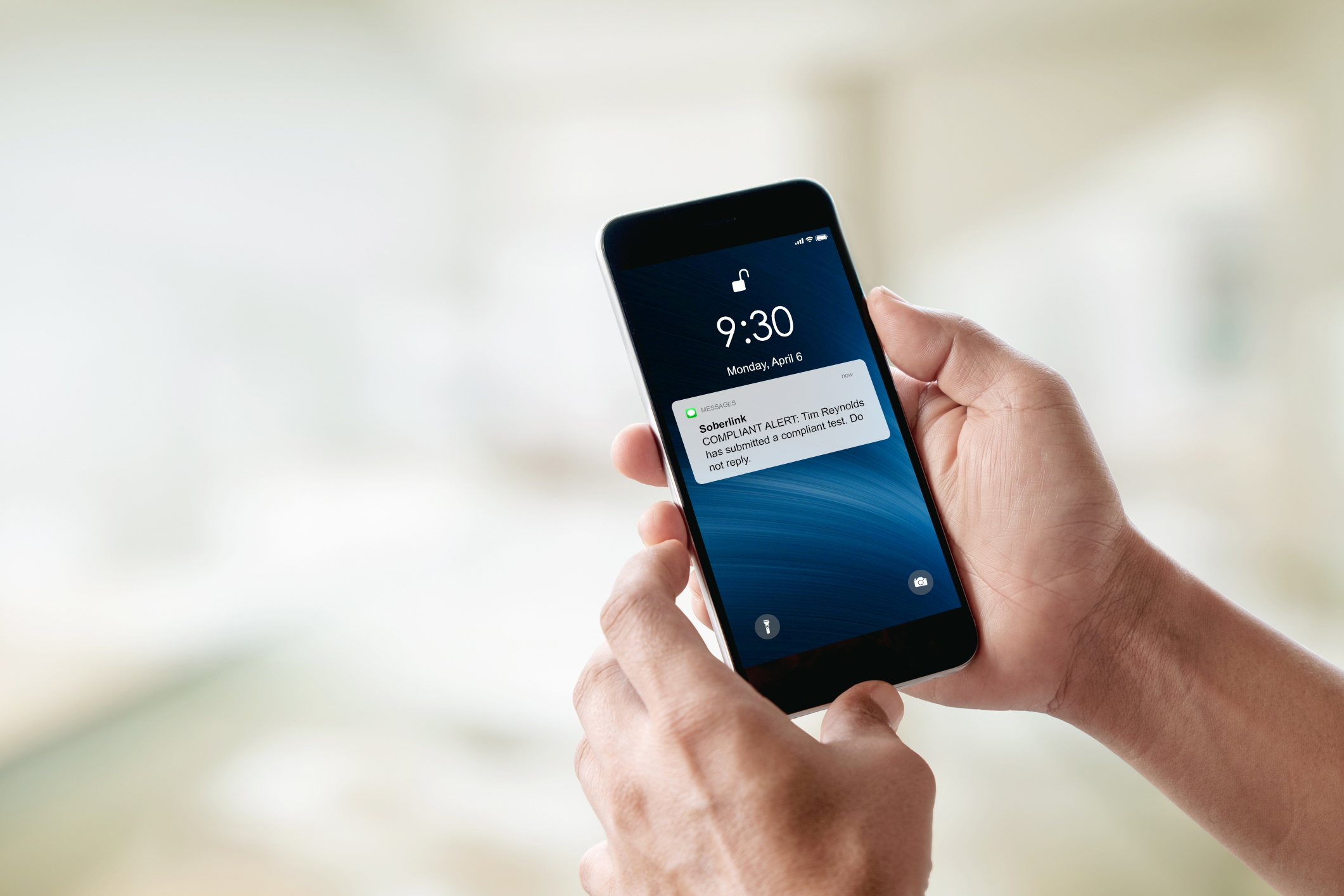 Compliant Test Alert appears on iPhone