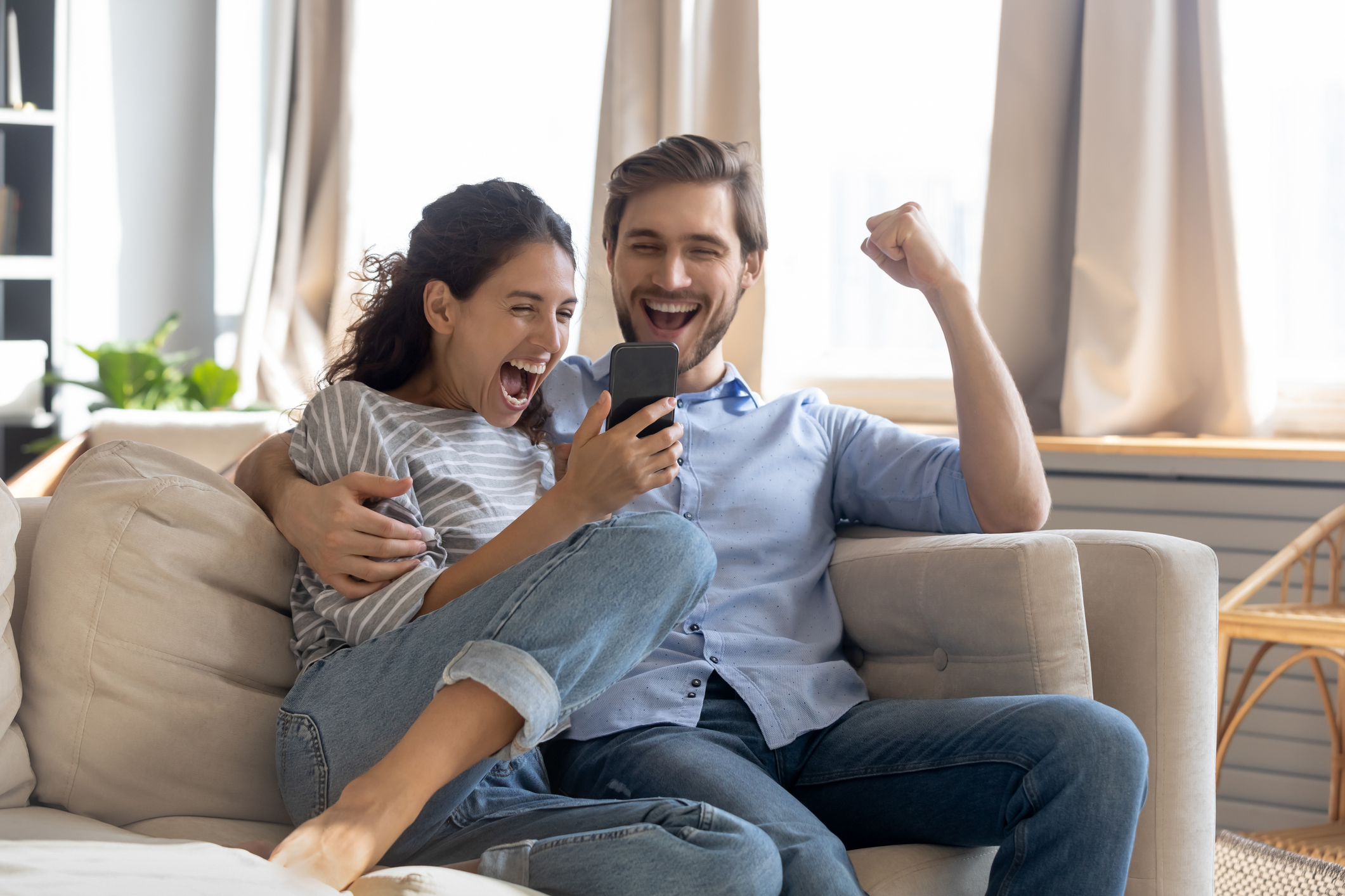 Husband and wife celebrating wife's recovery progress
