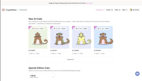 Crypto Kitties website
