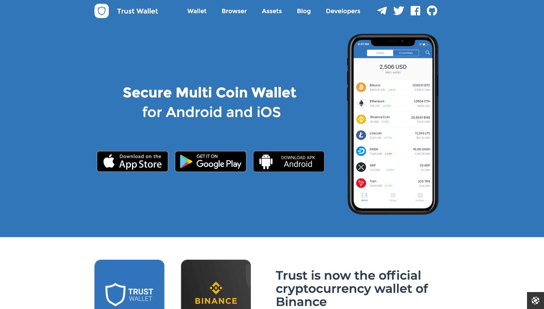 Trust Wallet webpage