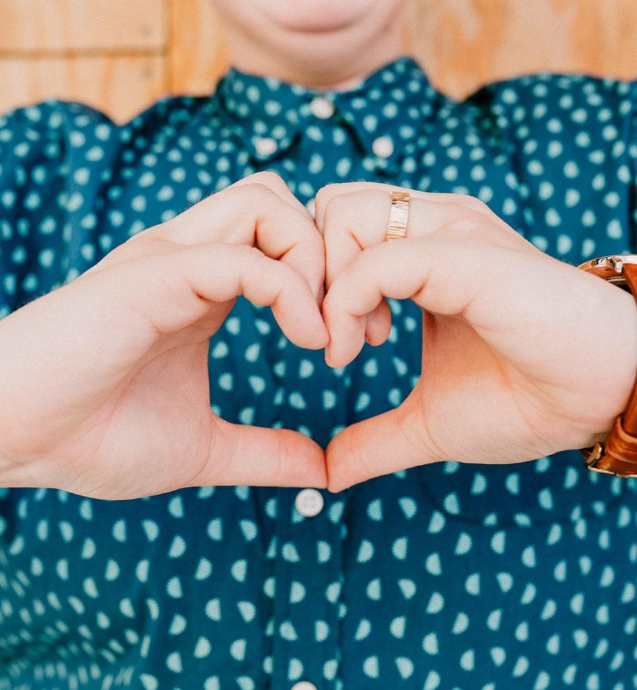Neathery's hands making a heart shape