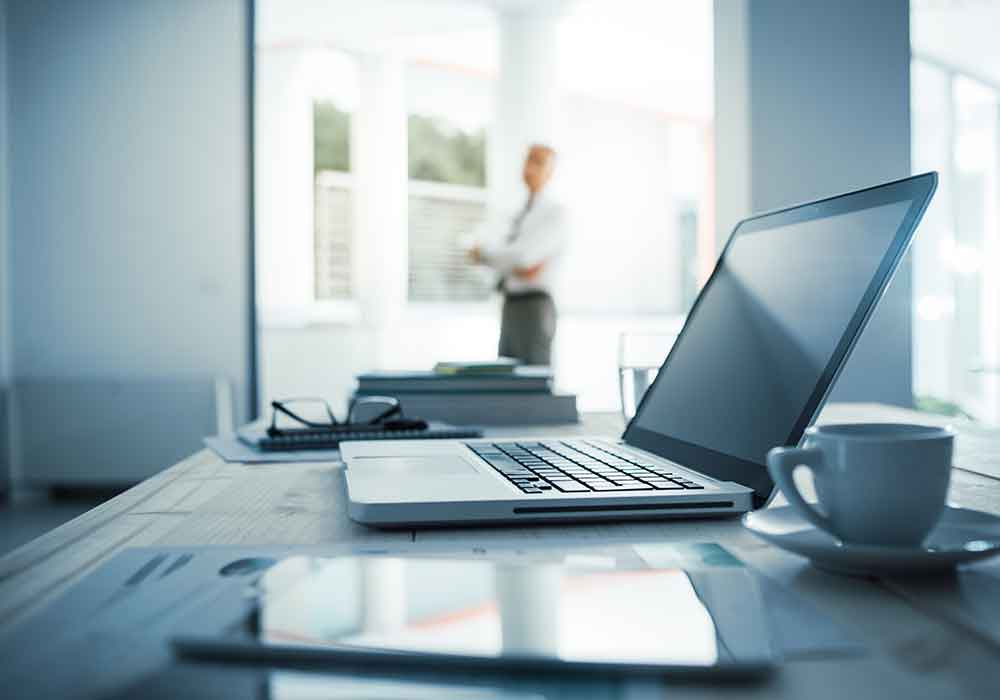 Business litigation attorney laptop