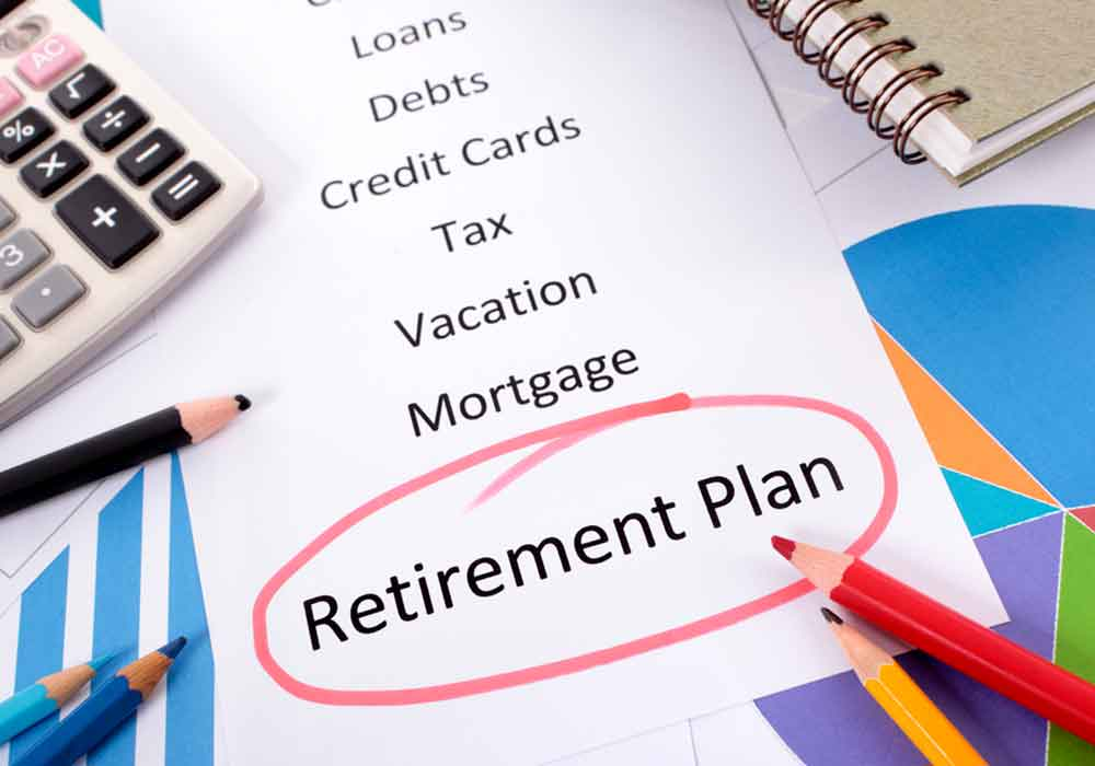 Picture of a list, calculator and the word Retirement Planning is circled