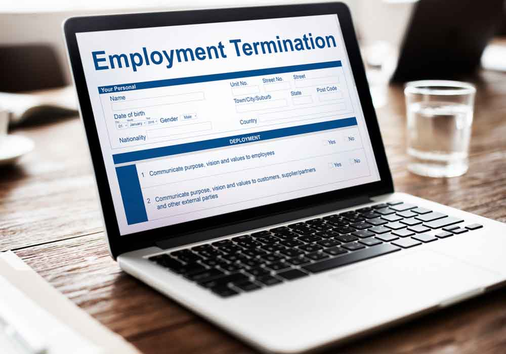 Laptop monitor with wrongful termination attorney information