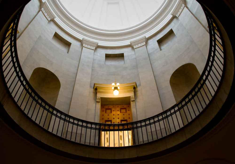 Inside of a government building at a government litigation trial