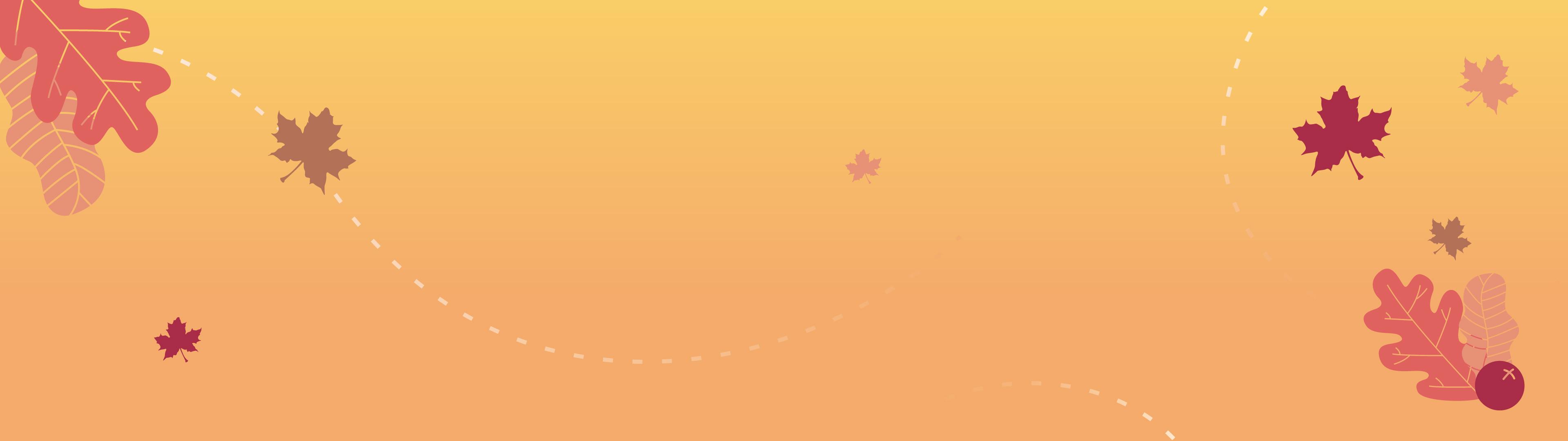 Orange banner with fall leaf illustrations