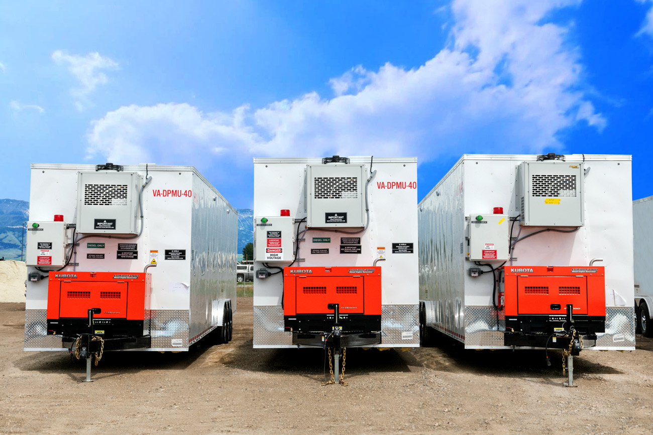 Refrigerated trailers in a row