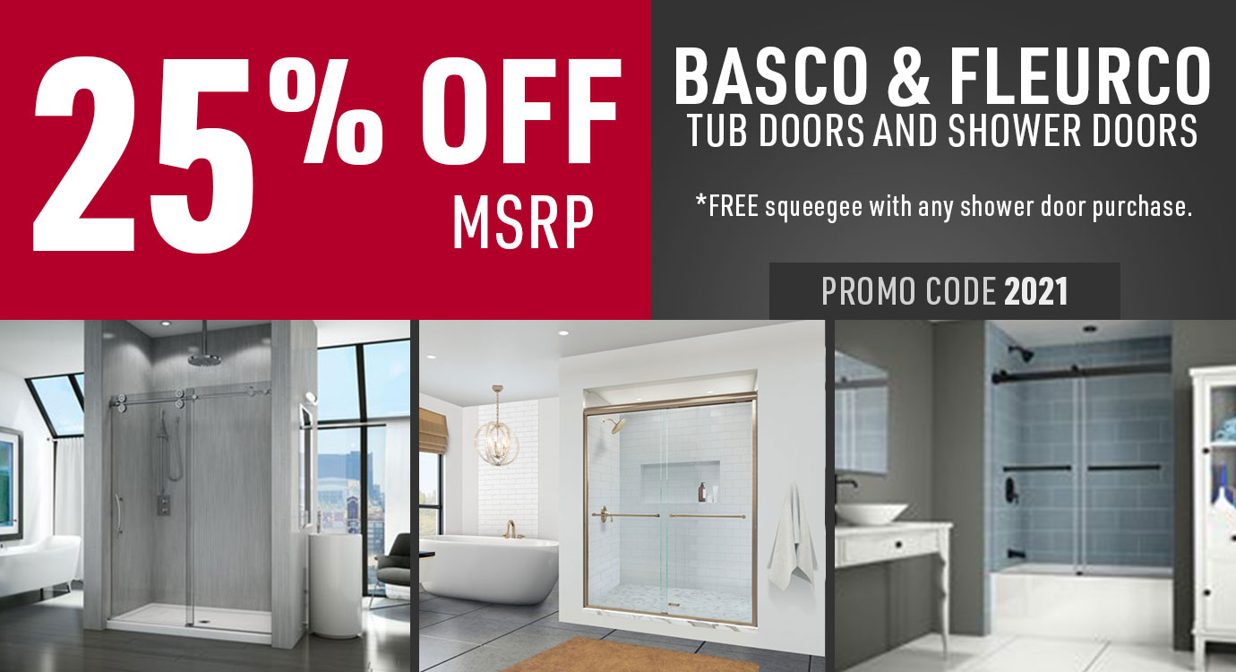 Get 25% off Basco and Fleurco shower doors and tub doors
