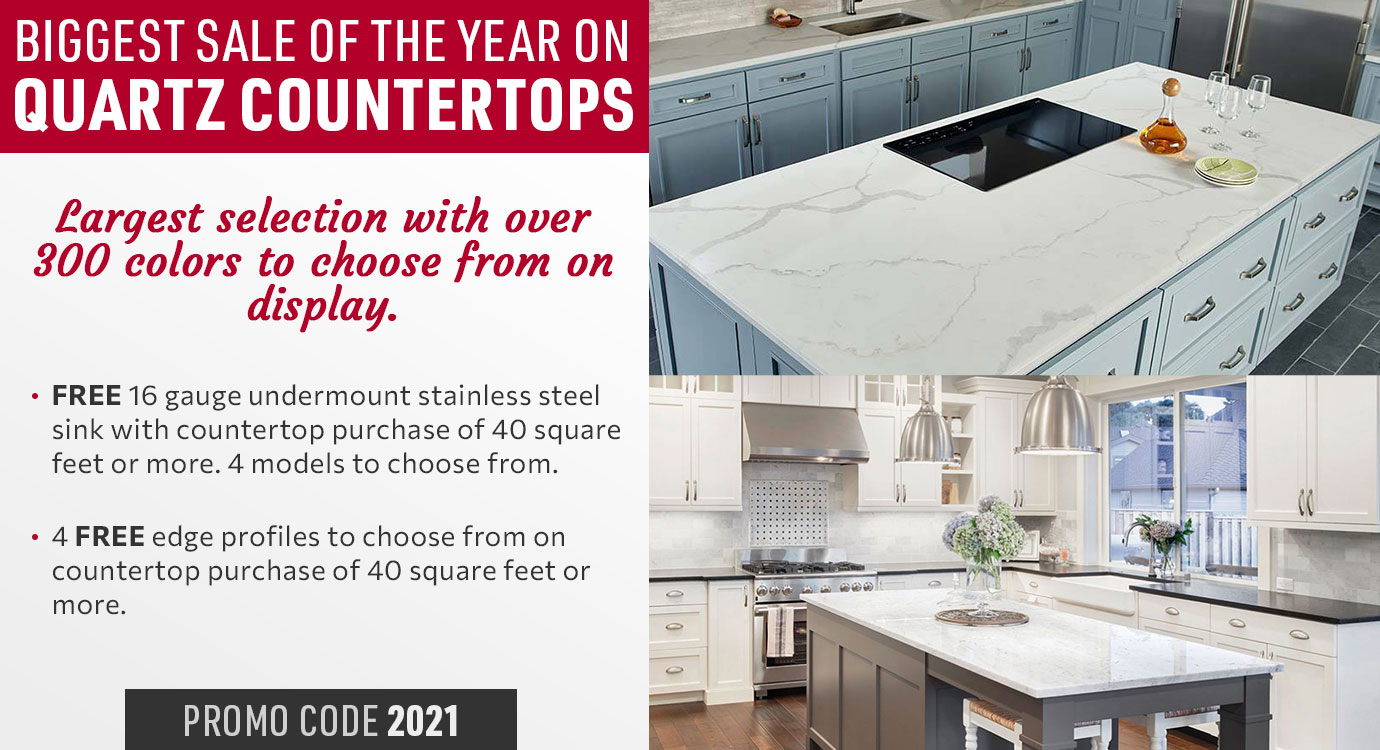 Choose from over 300 colors during the biggest sale of the year on quartz countertops