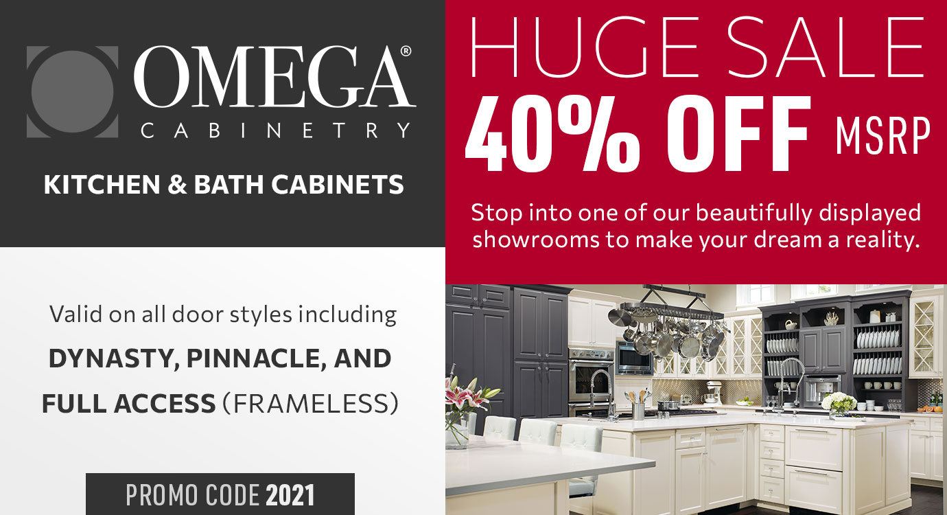 Get 40% off Omega Kitchen and Bath cabinets