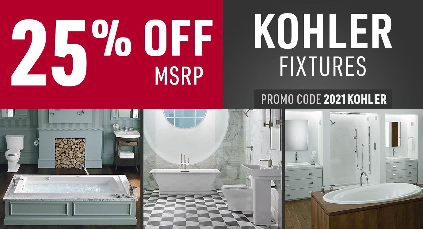 Get 25% off Kohler fixtures