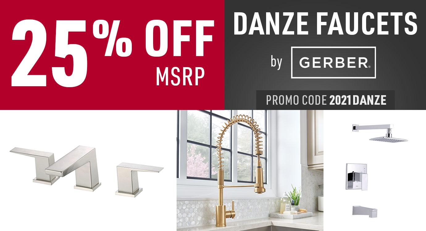 Get 25% off Danze faucets by Gerber