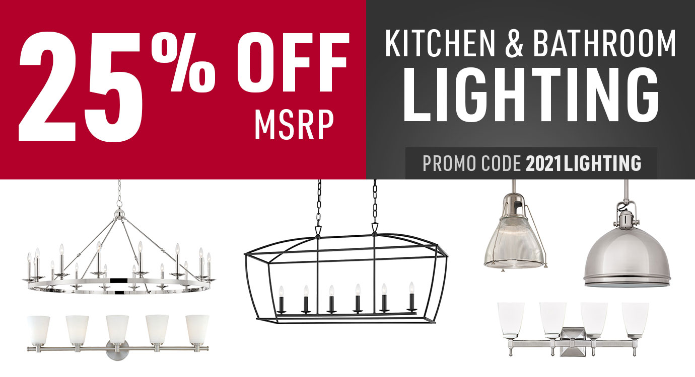 25% off kitchen and bathroom lighting