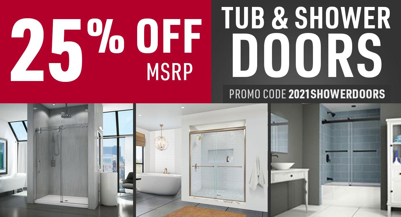 Get 25% off shower doors and tub doors