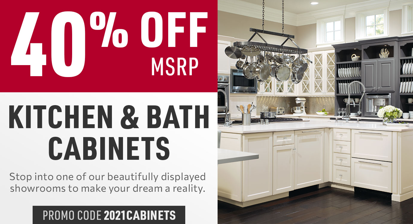 Get 40% off Kitchen and Bath cabinets
