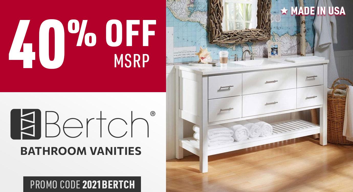 40% off Bertch bathroom vanities