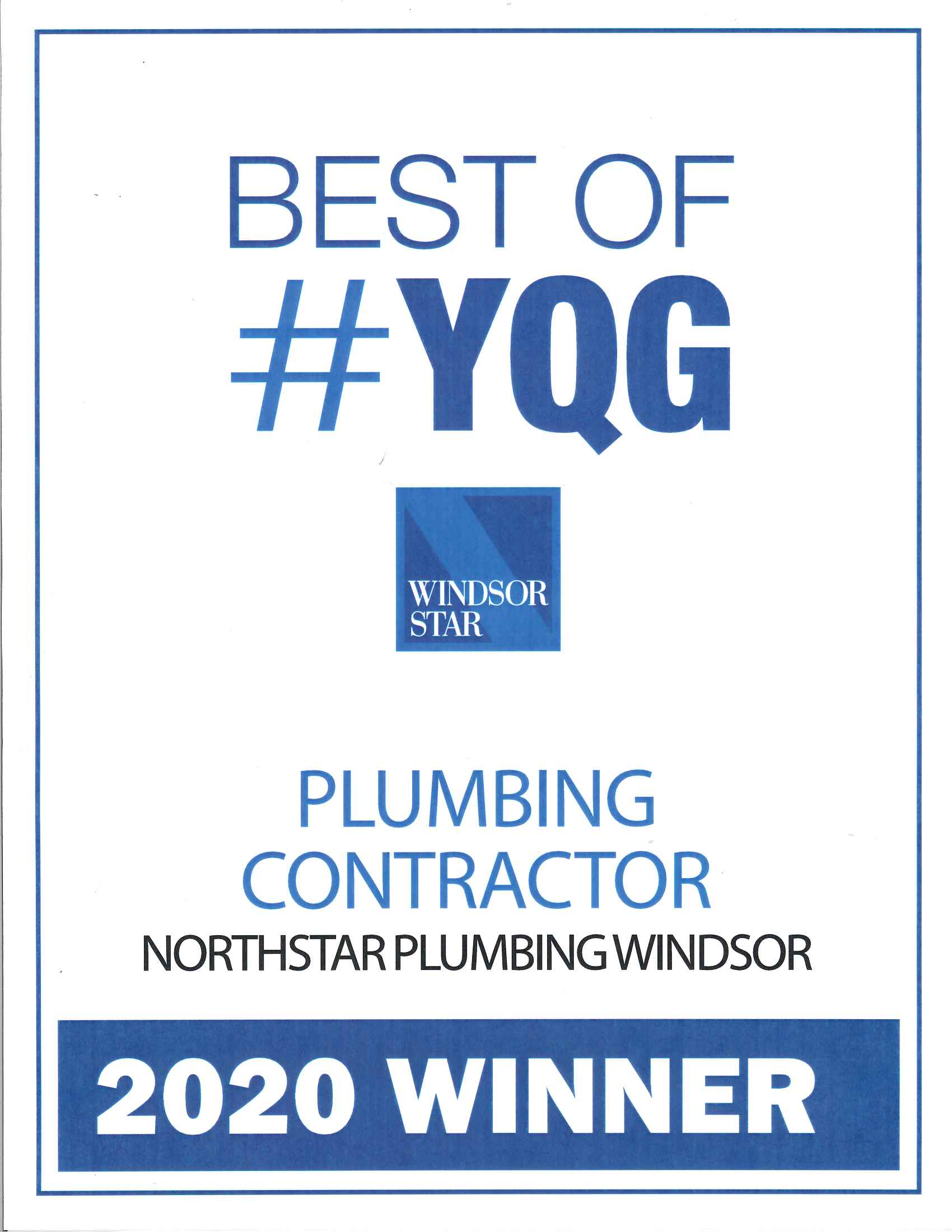 Northstar Plumbing won the 2020 award for Plumbing Contractor