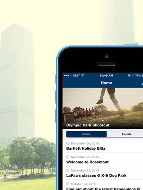 Screenshot of Central Parks mobile app on a phone