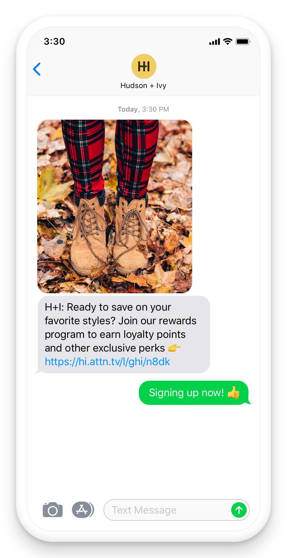 Seasonal SMS loyalty perks