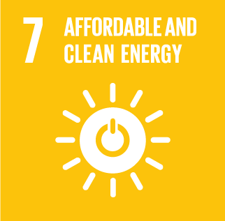 Icon for affordable and clean energy, a sunshine shape with an 'on' icon in the centre of it.