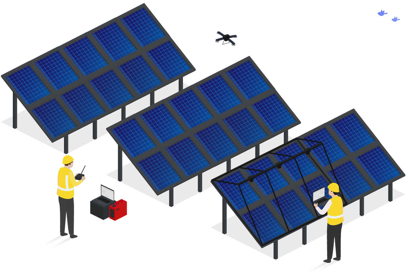 An engineer is flying a drone over a large set of solar panels. Another engineer is looking at a laptop, inspecting a set of solar panels.