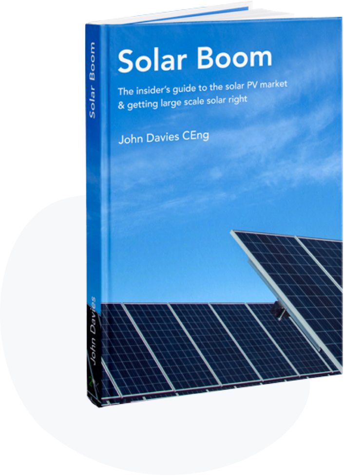 Solar boom book cover. Solar Panels against a bright blue sky.