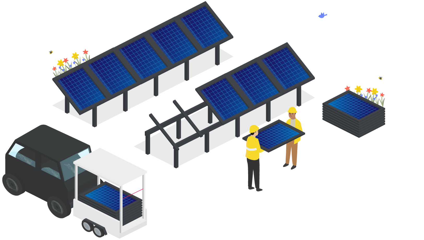 Two engineers carrying a solar panel towards a van with a trailer.