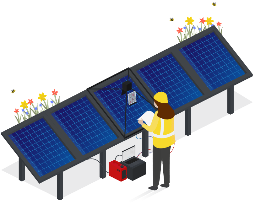 An engineer in a hard hat and high visibility jacket performing electroluminescence testing on a set of solar panels.