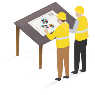 Two engineers in hard hats and high visibility jackets look at site plans on a table.