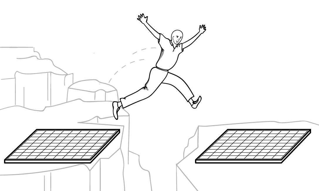 Illustration of John jumping a gap between two solar panels.