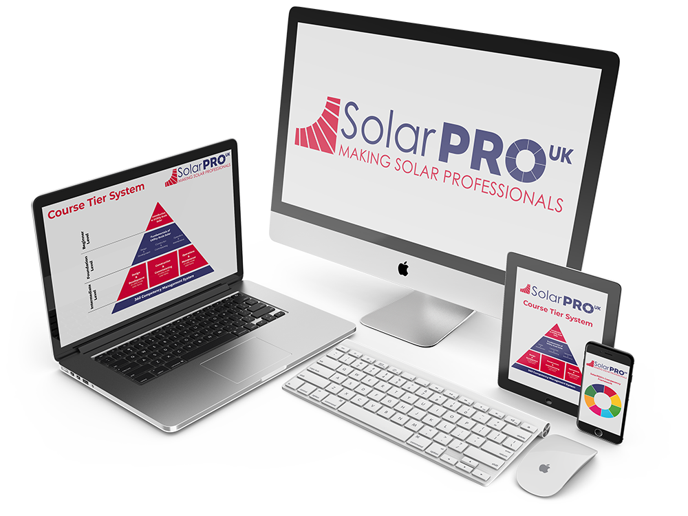 Images of the SolarPro tools on a desktop monitor,  laptop, tablet and mobile