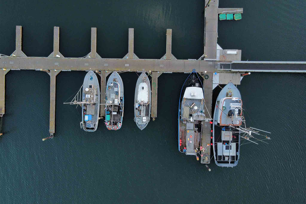 Aerial view of boats docked at a pier