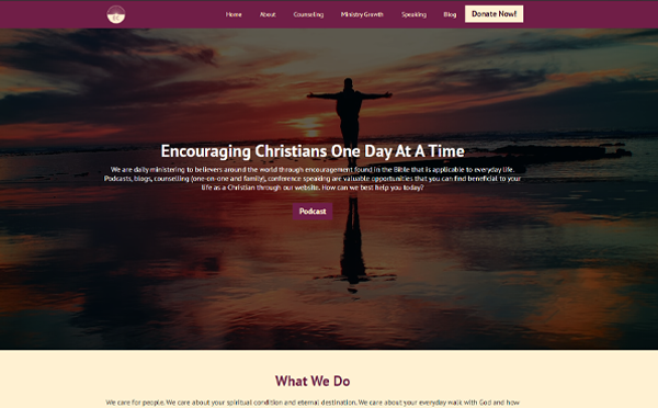 Encouraging Christians website design