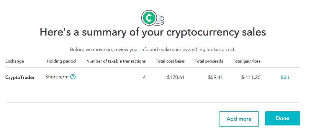 Cryptocurrency summary from within TurboTax